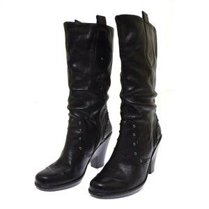 Born TROY Black Leather Women's Boots 9 Studs Nail Head Detail NEW